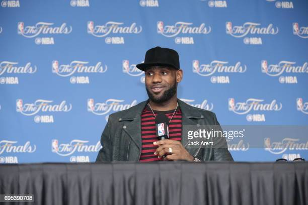 LeBron James of the Cleveland Cavaliers talks to the media after the game against the Golden State Warriors in Game Five of the 2017 NBA Finals on...