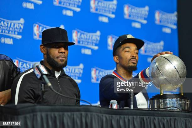 LeBron James of the Cleveland Cavaliers talks to the media during a press conference after winning Game Five of the Eastern Conference Finals against...