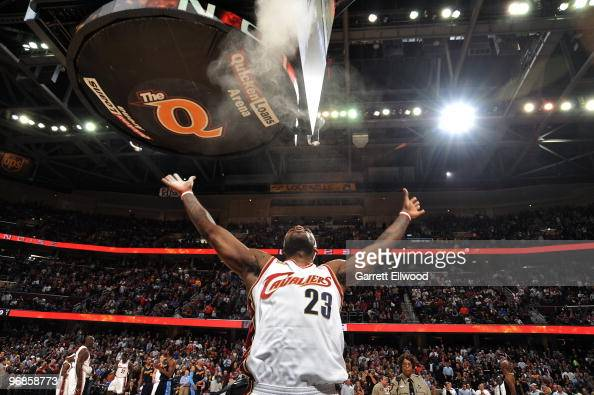 LeBron James of the Cleveland Cavaliers throws rosin into the air prior to the game against the Denver Nuggets on February 18 2010 at Quicken Loans...