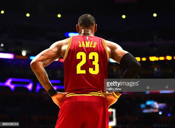 LeBron James of the Cleveland Cavaliers waits during a 125120 win over the Los Angeles Lakers at Staples Center on March 19 2017 in Los Angeles...