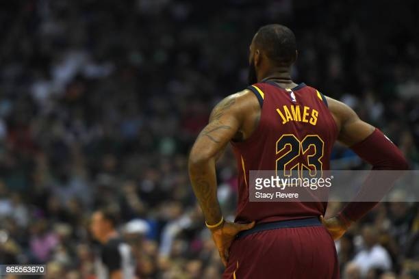 LeBron James of the Cleveland Cavaliers waits for a free throw during a game against the Milwaukee Bucks at the Bradley Center on October 20 2017 in...
