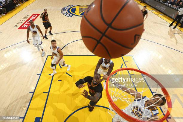 LeBron James of the Cleveland Cavaliers waits for a rebound against the Golden State Warriors in Game Five of the 2017 NBA Finals on June 12 2017 at...