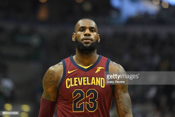 LeBron James of the Cleveland Cavaliers walks backcourt during a game against the Milwaukee Bucks at the Bradley Center on October 20 2017 in...