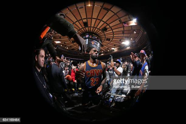 LeBron James of the Cleveland Cavaliers walks out toward the tunnel after the game against the New York Knicks on February 4 2017 at Madison Square...
