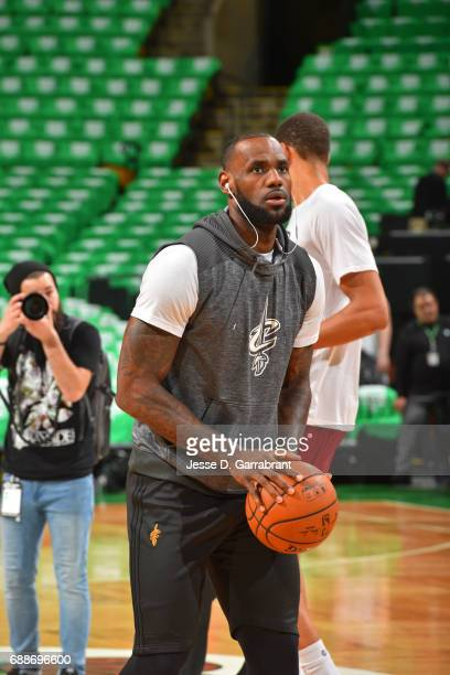 LeBron James of the Cleveland Cavaliers warms up before Game Five of the Eastern Conference Finals against the Cleveland Cavaliers during the 2017...