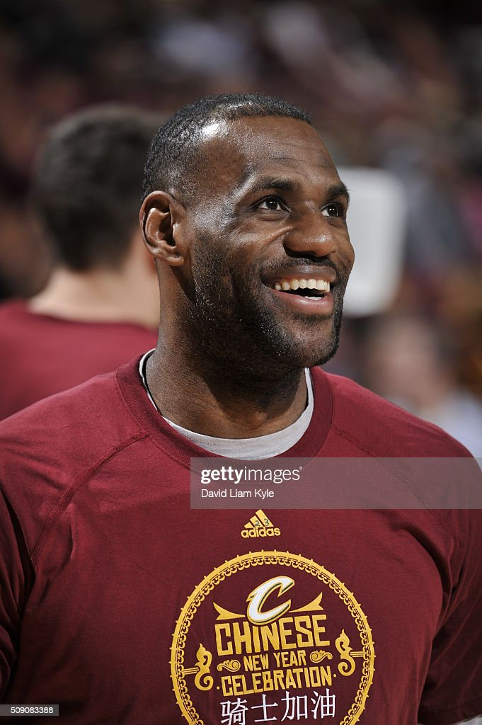<a gi-track='captionPersonalityLinkClicked' href=/galleries/search?phrase=LeBron+James&family=editorial&specificpeople=201474 ng-click='$event.stopPropagation()'>LeBron James</a> #23 of the Cleveland Cavaliers warms up before the game against the Sacramento Kings on February 8, 2016 at Quicken Loans Arena in Cleveland, Ohio.