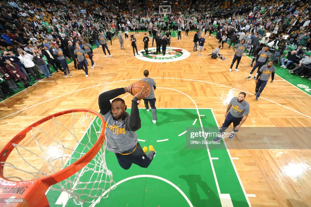 LeBron James #23 of the Cleveland Cavaliers warms up before the game against the Boston Celtics on March 1, 2017 at the TD Garden in Boston, Massachusetts.