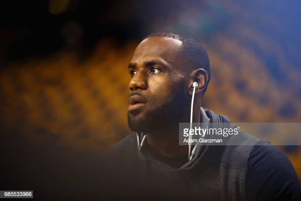 LeBron James of the Cleveland Cavaliers warms up prior to Game Two of the 2017 NBA Eastern Conference Finals against the Boston Celtics at TD Garden...
