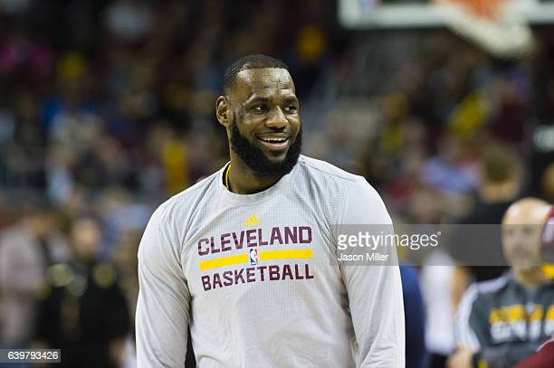 LeBron James of the Cleveland Cavaliers warms up prior to the game against the San Antonio Spurs at Quicken Loans Arena on January 21 2017 in...
