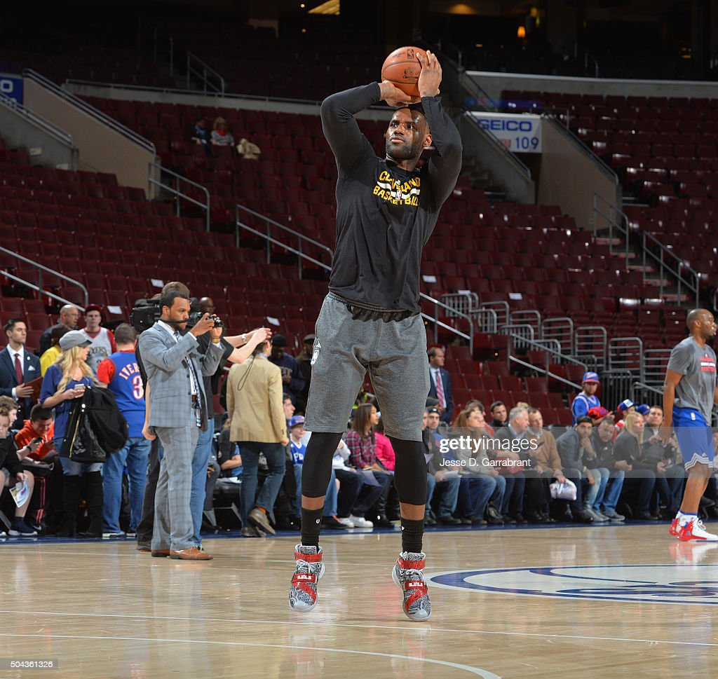 LeBron James #23 of the Cleveland Cavaliers warms-up prior to the game against the Philadelphia 76ers at Wells Fargo Center on January 10, 2015 in Philadelphia, Pennsylvania