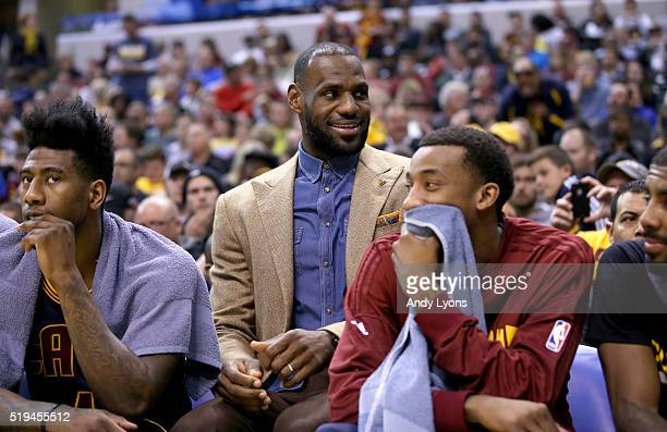 Lebron James of the Cleveland Cavaliers watches from the bench during the game against the Indiana Pacers at Bankers Life Fieldhouse on April 6 2016...