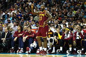 LeBron James of the Cleveland Cavaliers yells to his teammates during their game against the Charlotte Hornets at Time Warner Cable Arena on November...