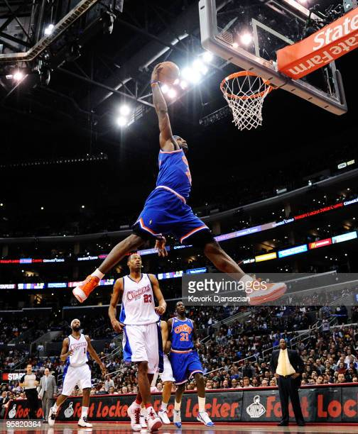 LeBron James of the Cleveland Caveliers dunks the ball against the Los Angeles Clippers during the first quarter of the NBA basketball game at...