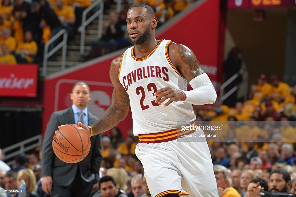 LeBron James #23 of the Cleveland Cavilers dribbles up court against the Atlanta Hawks during the Eastern Conference Semifinals Game One on May 2, 2016 at The Quicken Loans Arena in Cleveland, Ohio.