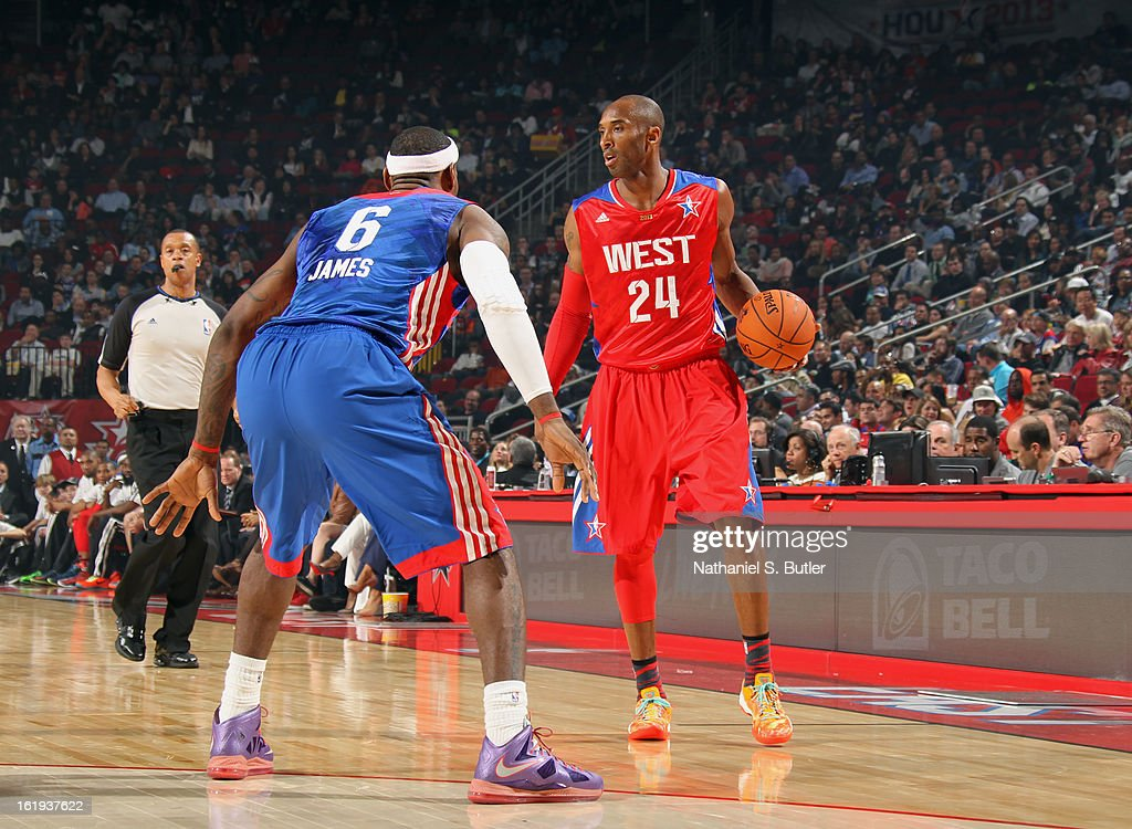 LeBron James #6 of the Eastern Conference All-Star Team defends Kobe Bryant #24 of the Western Conference All-Star Team during 2013 NBA All-Star Game on February 17, 2013 at the Toyota Center in Houston, Texas.