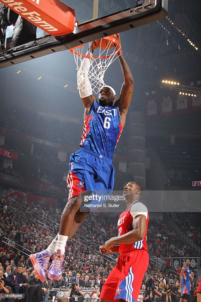 <a gi-track='captionPersonalityLinkClicked' href=/galleries/search?phrase=LeBron+James&family=editorial&specificpeople=201474 ng-click='$event.stopPropagation()'>LeBron James</a> #6 of the Eastern Conference All-Star Team dunks during 2013 NBA All-Star Game on February 17, 2013 at the Toyota Center in Houston, Texas.