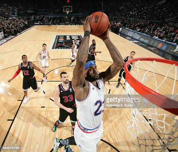 LeBron James of the Eastern Conference AllStar Team dunks during the 64th NBA AllStar Game presented by Kia as part of the 2015 NBA AllStar Weekend...