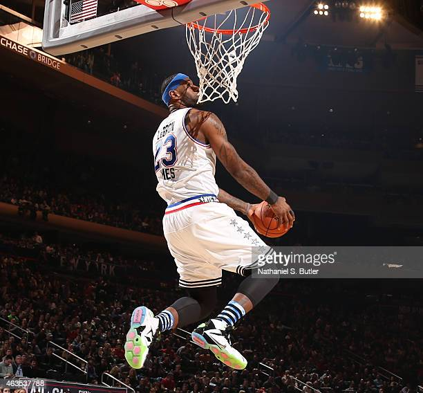LeBron James of the Eastern Conference AllStar Team goes up to dunk during the 64th NBA AllStar Game presented by Kia as part of the 2015 NBA AllStar...
