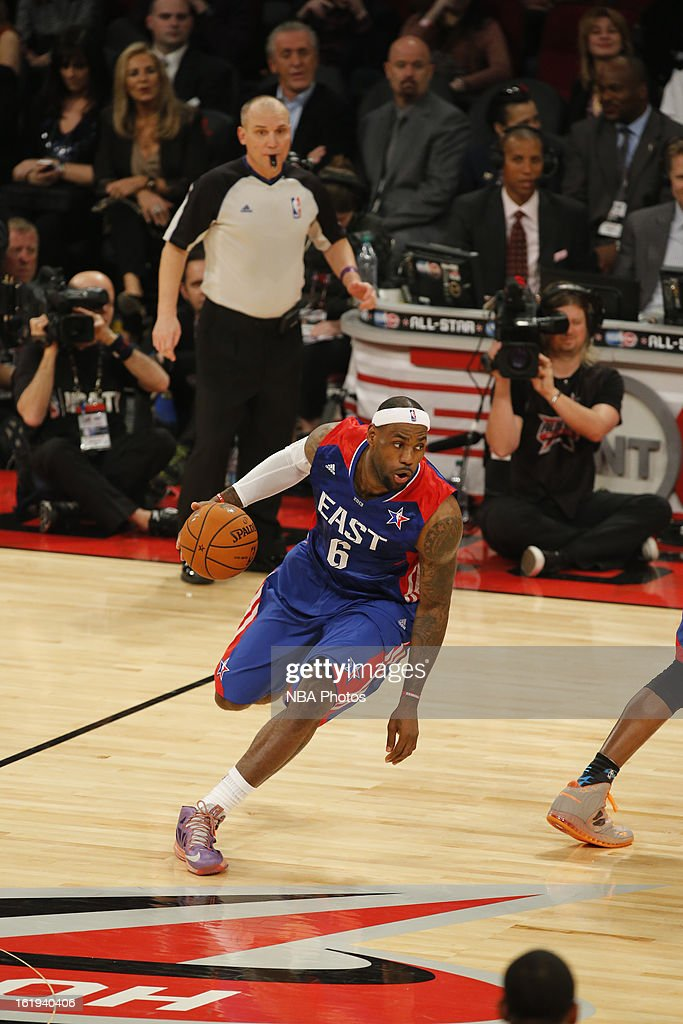 LeBron James #6 of the Eastern Conference All-Stars dribbles the ball up the floor against the Western Conference All-Stars during 2013 NBA All-Star Game on February 17, 2013 at Toyota Center in Houston, Texas.