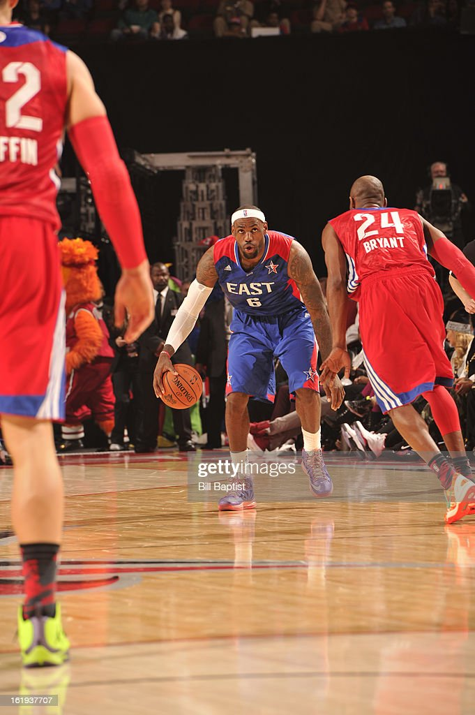LeBron James #6 of the Eastern Conference All-Stars drives the ball against Kobe Bryant #24 of the Western Conference All-Stars during the 2013 NBA All-Star Game presented by Kia on February 17, 2013 at the Toyota Center in Houston, Texas.