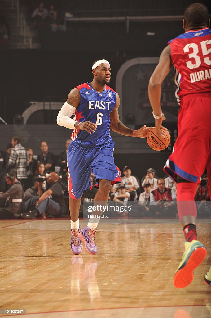 LeBron James #6 of the Eastern Conference All-Stars drives the ball against the Western Conference All-Stars during the 2013 NBA All-Star Game presented by Kia on February 17, 2013 at the Toyota Center in Houston, Texas.