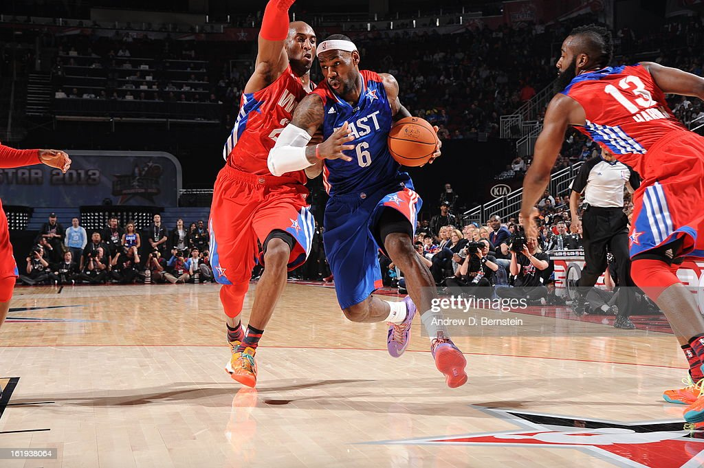 Lebron James #6 of the Eastern Conference All-Stars drives to the basket during the 2013 NBA All-Star Game on February 17, 2013 at Toyota Center in Houston, Texas.