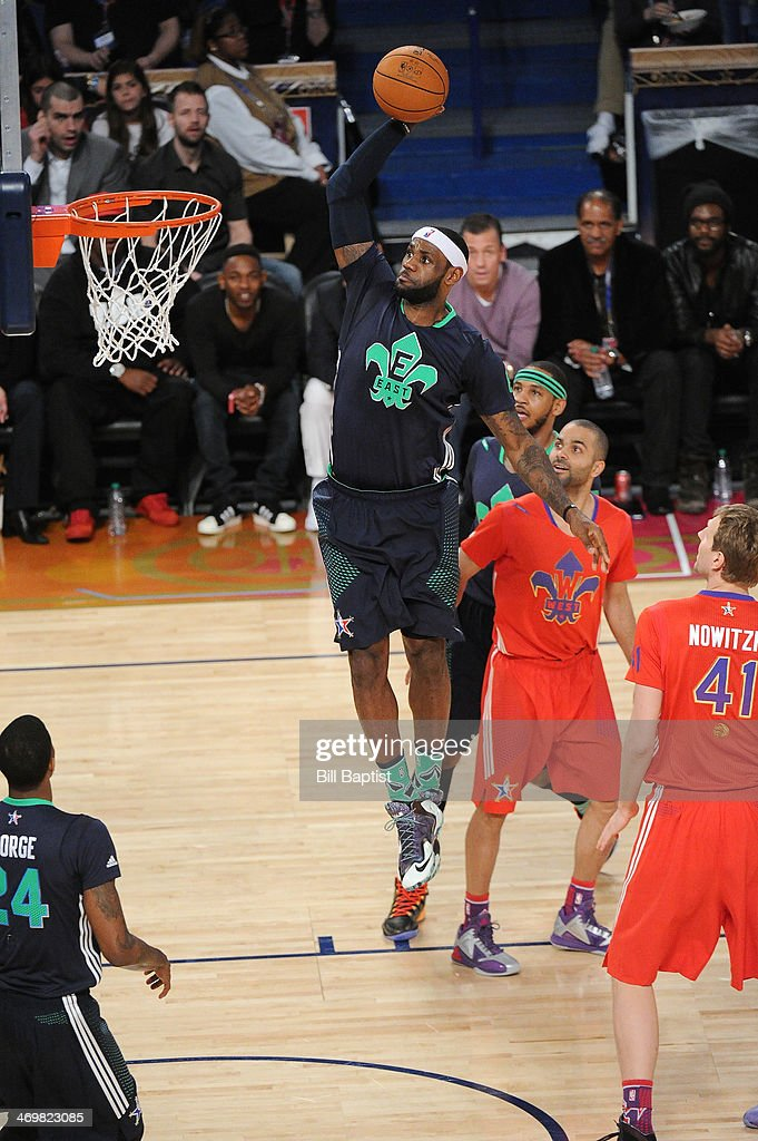 <a gi-track='captionPersonalityLinkClicked' href=/galleries/search?phrase=LeBron+James&family=editorial&specificpeople=201474 ng-click='$event.stopPropagation()'>LeBron James</a> #6 of the Eastern Conference All-Stars dunks during the 2014 NBA All-Star Game at Smoothie King Center on February 16, 2014 in New Orleans, Louisiana.
