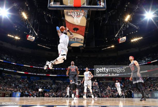 LeBron James of the Eastern Conference AllStars dunks during the NBA AllStar Game as part of the 2017 NBA All Star Weekend on February 19 2017 at the...