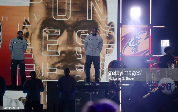 LeBron James of the Eastern Conference AllStars intro during the NBA AllStar Game as part of the 2017 NBA All Star Weekend on February 19 2017 at the...