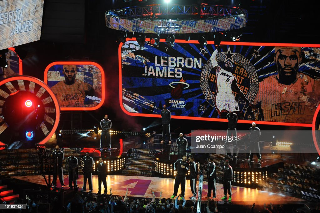 LeBron James #6 of the Eastern Conference All-Stars is announced before the 2013 NBA All-Star Game on February 17, 2013 at Toyota Center in Houston, Texas.