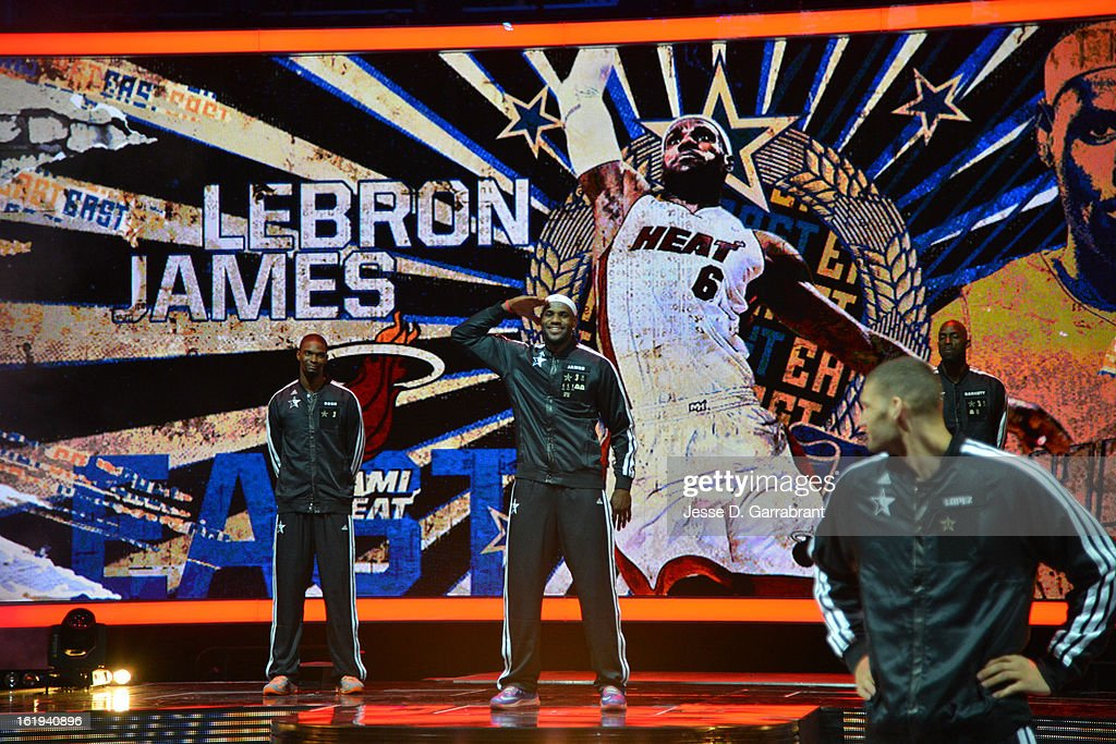 LeBron James #6 of the Eastern Conference All-Stars is introduced before the 2013 NBA All-Star Game on February 17, 2013 at the Toyota Center in Houston, Texas.