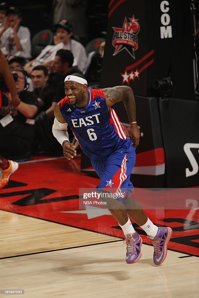 LeBron James #6 of the Eastern Conference All-Stars smiles after he scores a basket against the Western Conference All-Stars during 2013 NBA All-Star Game on February 17, 2013 at Toyota Center in Houston, Texas.