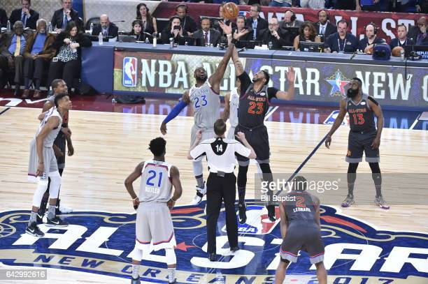 LeBron James of the Eastern Conference and Anthony Davis of the Western Conference start the NBA AllStar Game as a part of 2017 AllStar Weekend at...