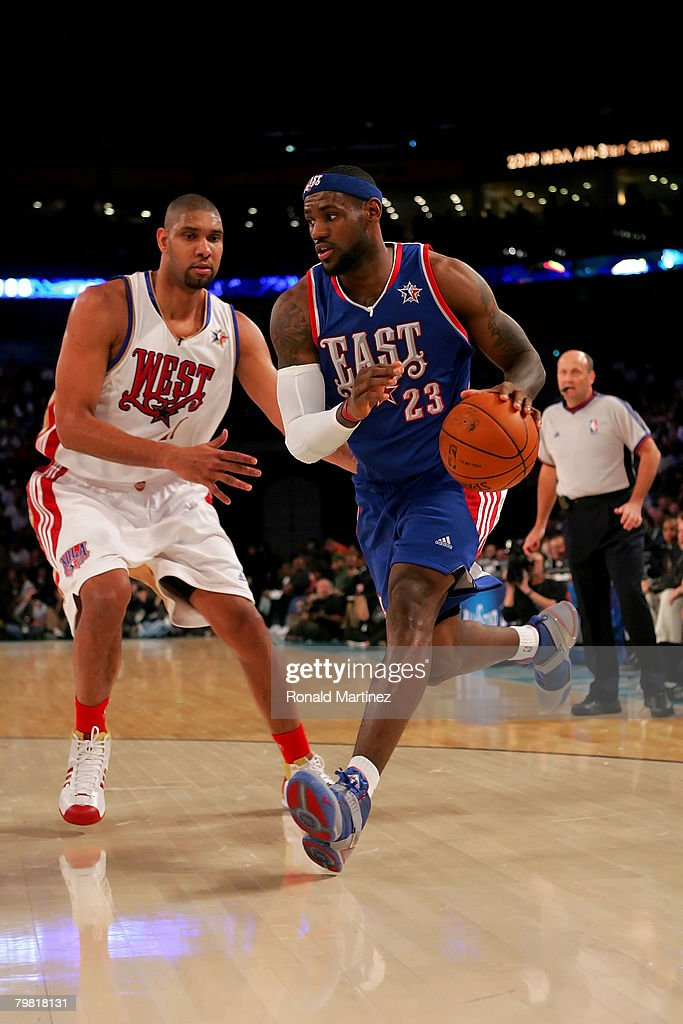 LeBron James #23 of the Eastern Conference drives to the basket past Tim Duncan #21 of the Western Conference during the 57th NBA All-Star Game, part of 2008 NBA All-Star Weekend at the New Orleans Arena on February 17, 2008 in New Orleans, Louisiana. The East won 134-128.