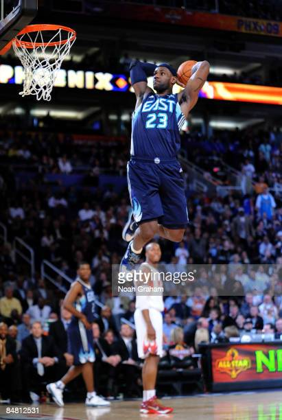 LeBron James of the Eastern Conference goes up for a dunk during the 58th NBA AllStar Game part of 2009 NBA AllStar Weekend at US Airways Center on...
