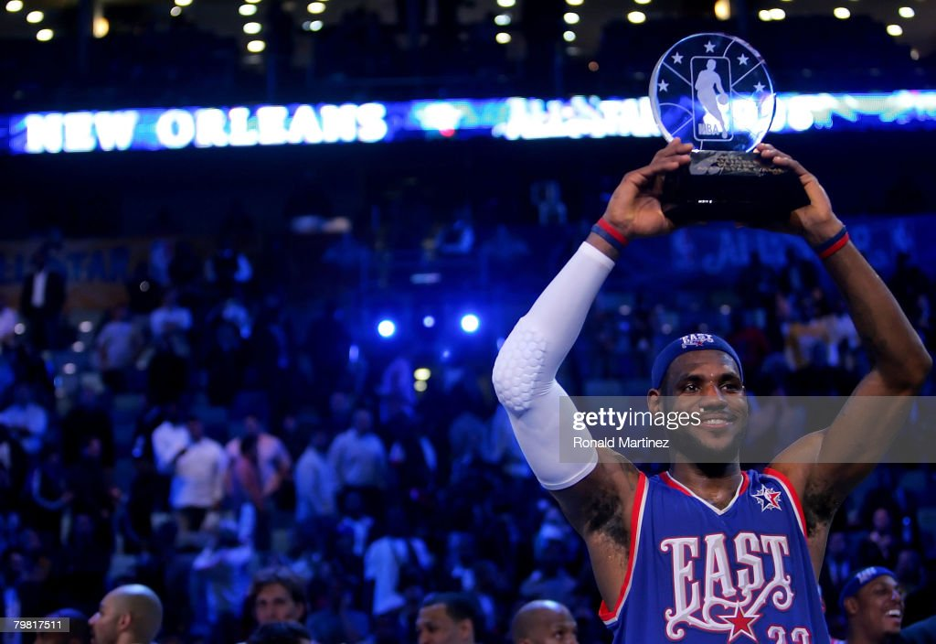 LeBron James #23 of the Eastern Conference holds up the MVP trophy after the East won the 57th NBA All-Star Game, part of 2008 NBA All-Star Weekend at the New Orleans Arena on February 17, 2008 in New Orleans, Louisiana. The East won 134-128.