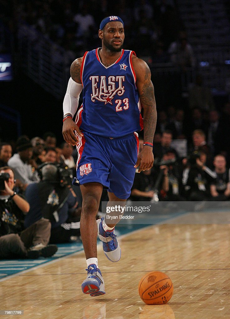 Lebron James of the Eastern Conference in the last quarter of the 57th NBA All-Star Game, part of 2008 NBA All-Star Weekend at the New Orleans Arena on February 17, 2008 in New Orleans, Louisiana.