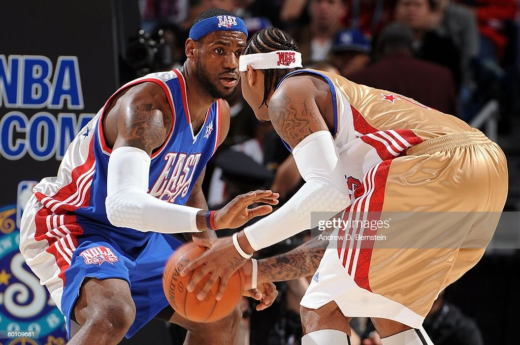 <a gi-track='captionPersonalityLinkClicked' href=/galleries/search?phrase=LeBron+James&family=editorial&specificpeople=201474 ng-click='$event.stopPropagation()'>LeBron James</a> #23 of the Eastern Conference plays defense on <a gi-track='captionPersonalityLinkClicked' href=/galleries/search?phrase=Carmelo+Anthony&family=editorial&specificpeople=201494 ng-click='$event.stopPropagation()'>Carmelo Anthony</a> #15 of the Western Conference during the 2008 NBA All-Star Game part of 2008 NBA All-Star Weekend at the New Orleans Arena on February 17, 2008 in New Orleans, Louisiana.
