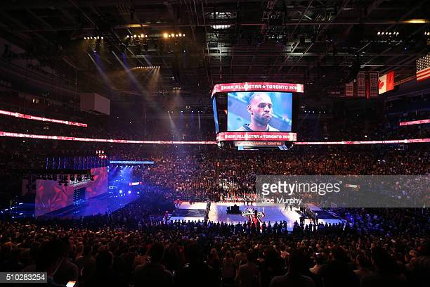 LeBron James of the Eastern Conference stands for the national anthem before the game against the Western Conference during the 2016 NBA AllStar Game...