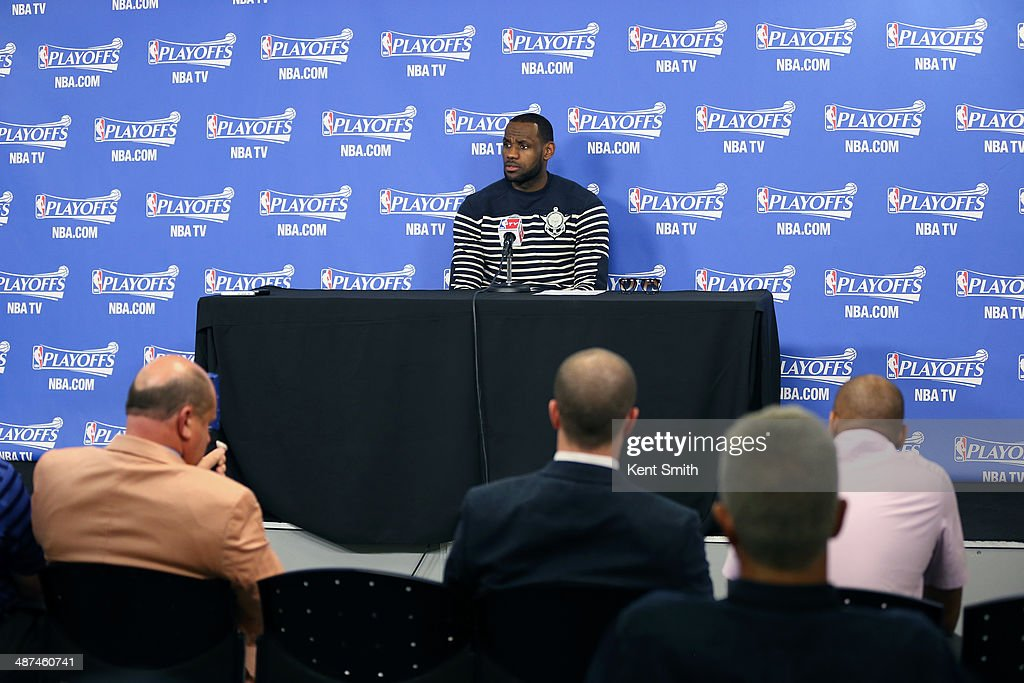 LeBron James #6 of the Miami Heat addresses the media after Game Four of the Eastern Conference Quarterfinals against the Charlotte Bobcats in the 2014 NBA Playoffs at the Time Warner Cable Arena on April 28, 2014 in Charlotte, North Carolina.