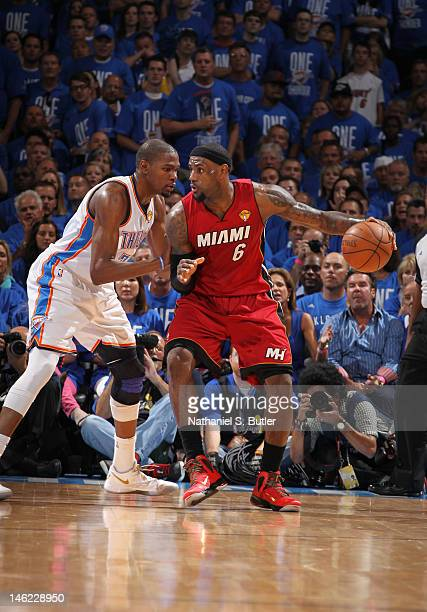 LeBron James of the Miami Heat against Kevin Durant of the Oklahoma City Thunder during Game One of the 2012 NBA Finals at Chesapeake Energy Arena on...