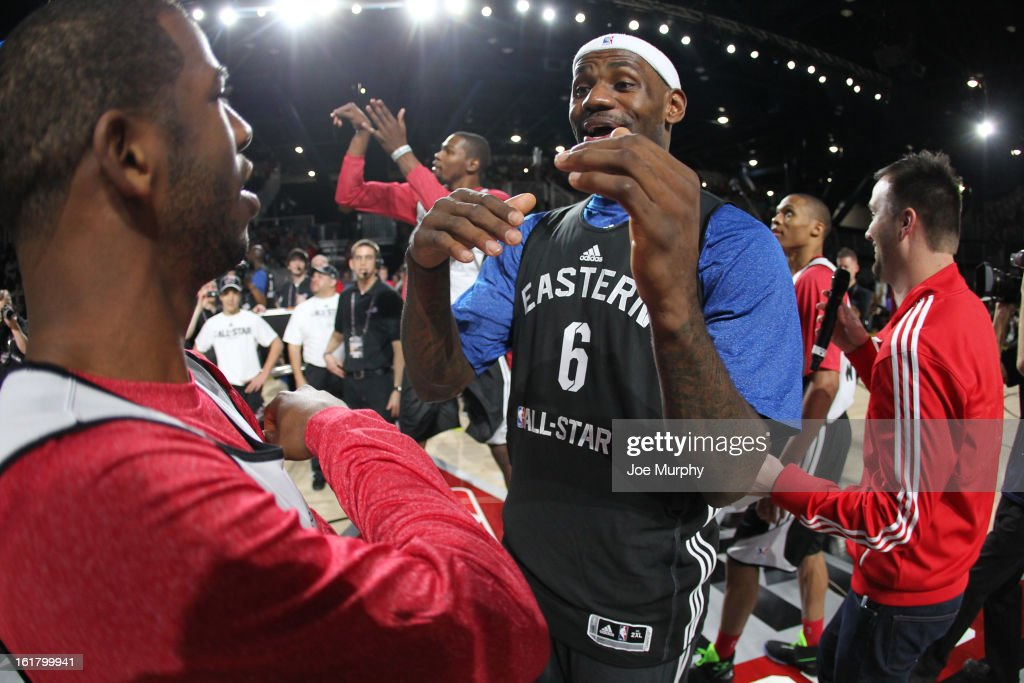 LeBron James #6 of the Miami Heat and Chris Paul #3 Los Angeles Clippers participate during the NBA All-Star Practice in Sprint Arena during the 2013 NBA All-Star Weekend on February 16, 2013 at the George R. Brown Convention Center in Houston, Texas.