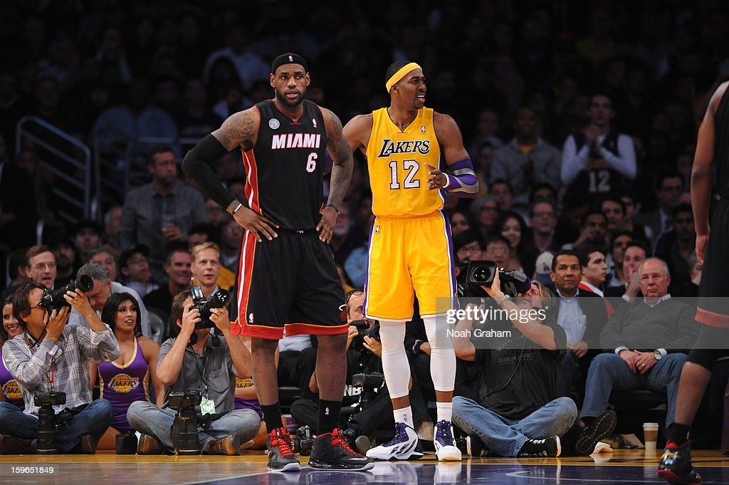 LeBron James #6 of the Miami Heat and Dwight Howard #12 of the Los Angeles Lakers look on at Staples Center on January 15, 2013 in Los Angeles, California.