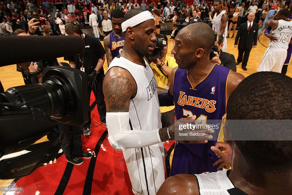 LeBron James #6 of the Miami Heat and Kobe Bryant #24 of the Los Angeles Lakers share a word after a game between the Los Angeles Lakers and the Miami Heat on February 10, 2013 at American Airlines Arena in Miami, Florida.