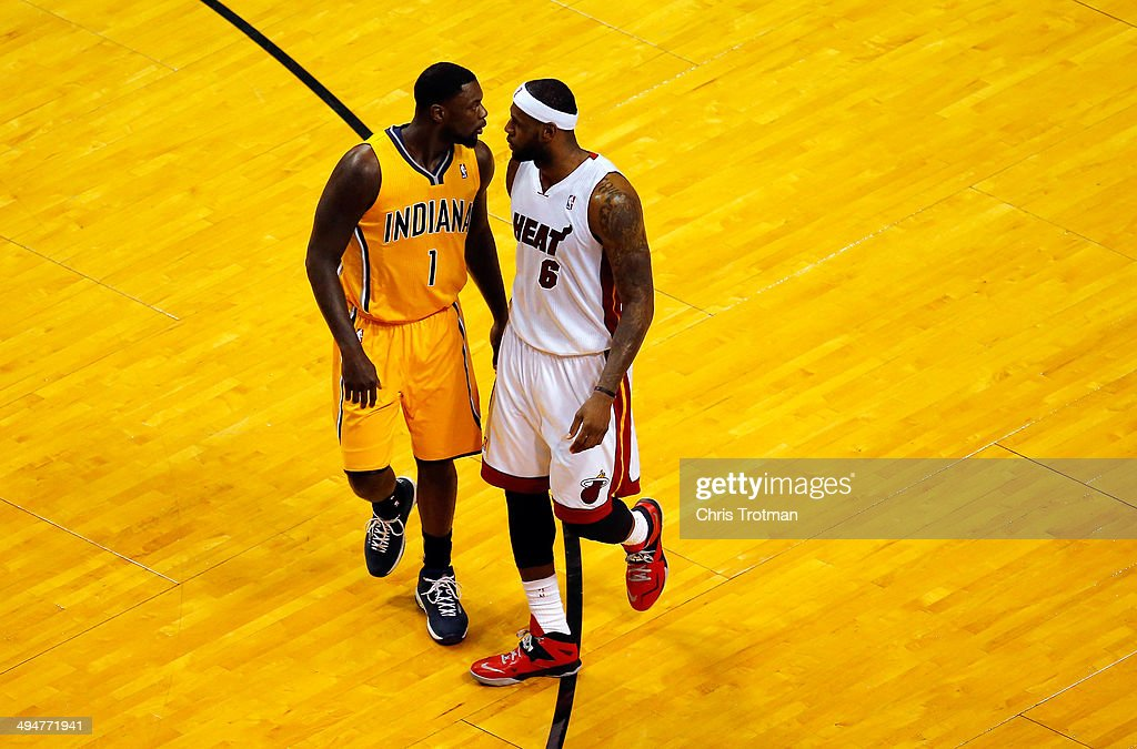 <a gi-track='captionPersonalityLinkClicked' href=/galleries/search?phrase=LeBron+James&family=editorial&specificpeople=201474 ng-click='$event.stopPropagation()'>LeBron James</a> #6 of the Miami Heat and <a gi-track='captionPersonalityLinkClicked' href=/galleries/search?phrase=Lance+Stephenson&family=editorial&specificpeople=5298304 ng-click='$event.stopPropagation()'>Lance Stephenson</a> #1 of the Indiana Pacers match up during Game Six of the Eastern Conference Finals of the 2014 NBA Playoffs at American Airlines Arena on May 30, 2014 in Miami, Florida.