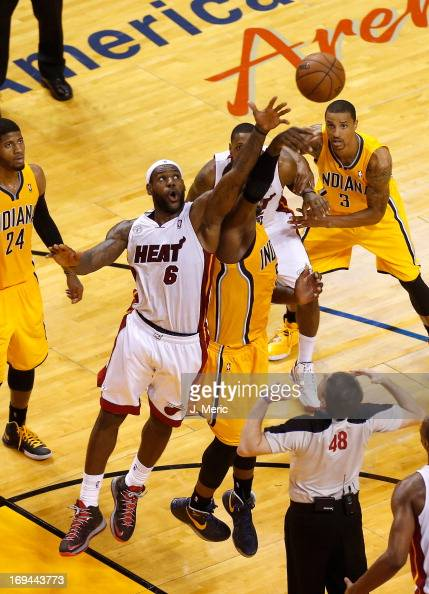 LeBron James of the Miami Heat and Roy Hibbert of the Indiana Pacers go up for a jump ball in the second half during Game Two of the Eastern...