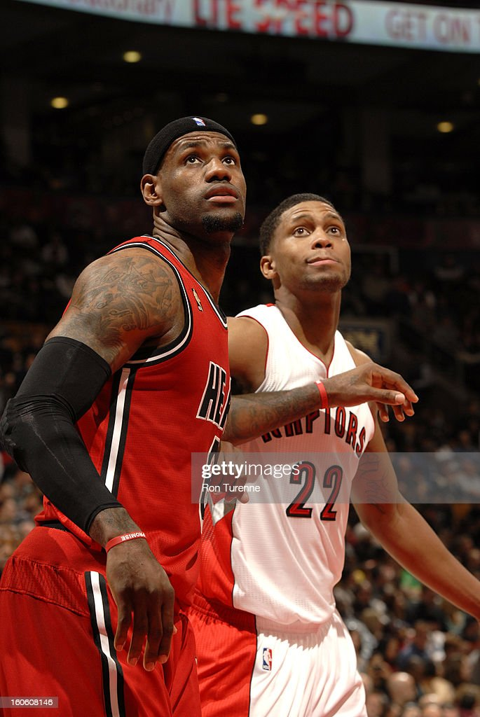LeBron James #6 of the Miami Heat and Rudy Gay #22 of the Toronto Raptors wait for a rebound during the game between the Toronto Raptors and the Miami Heat during the game on February 3, 2013 at the Air Canada Centre in Toronto, Ontario, Canada.
