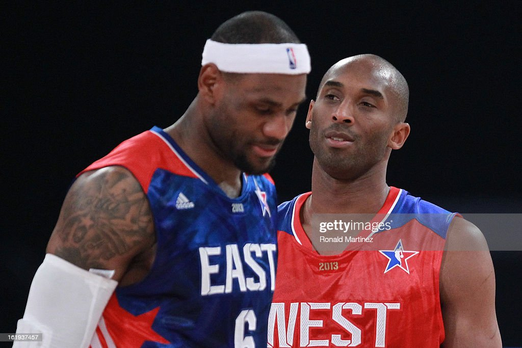 LeBron James #6 of the Miami Heat and the Eastern Conference and Kobe Bryant #24 of the Los Angeles Lakers and the Western Conference on the court during the 2013 NBA All-Star game at the Toyota Center on February 17, 2013 in Houston, Texas.
