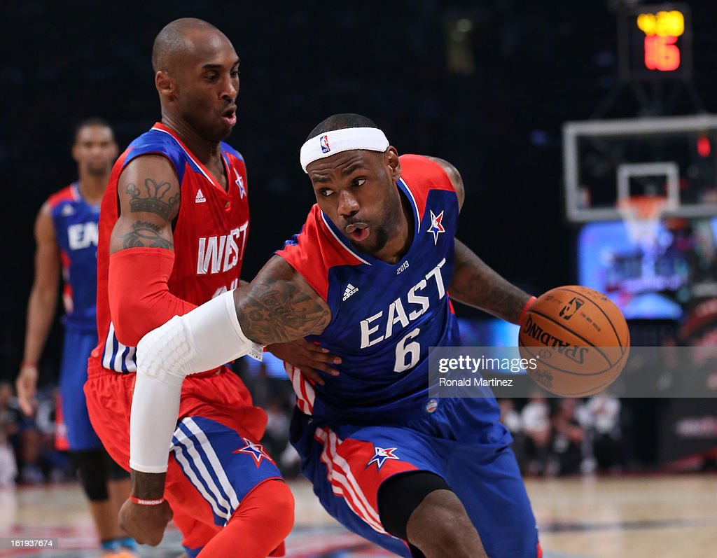 LeBron James #6 of the Miami Heat and the Eastern Conference drives on Kobe Bryant #24 of the Los Angeles Lakers and the Western Conference during the 2013 NBA All-Star game at the Toyota Center on February 17, 2013 in Houston, Texas.