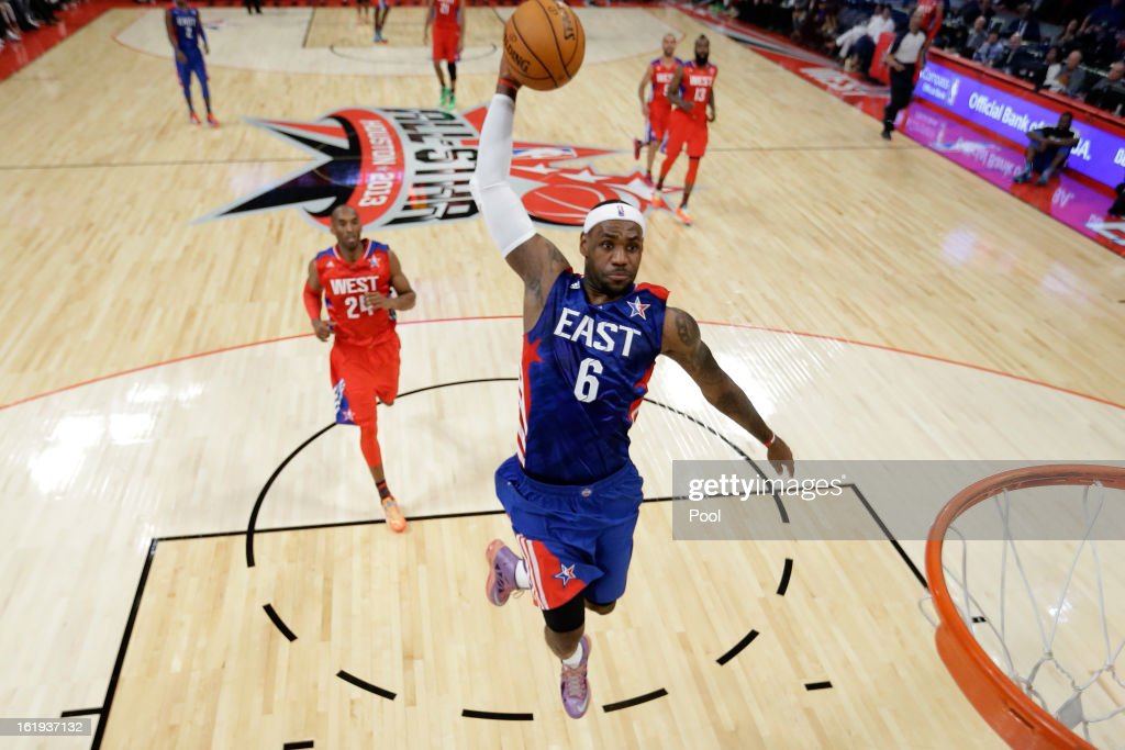 LeBron James #6 of the Miami Heat and the Eastern Conference dunks the ball during the 2013 NBA All-Star game at the Toyota Center on February 17, 2013 in Houston, Texas.